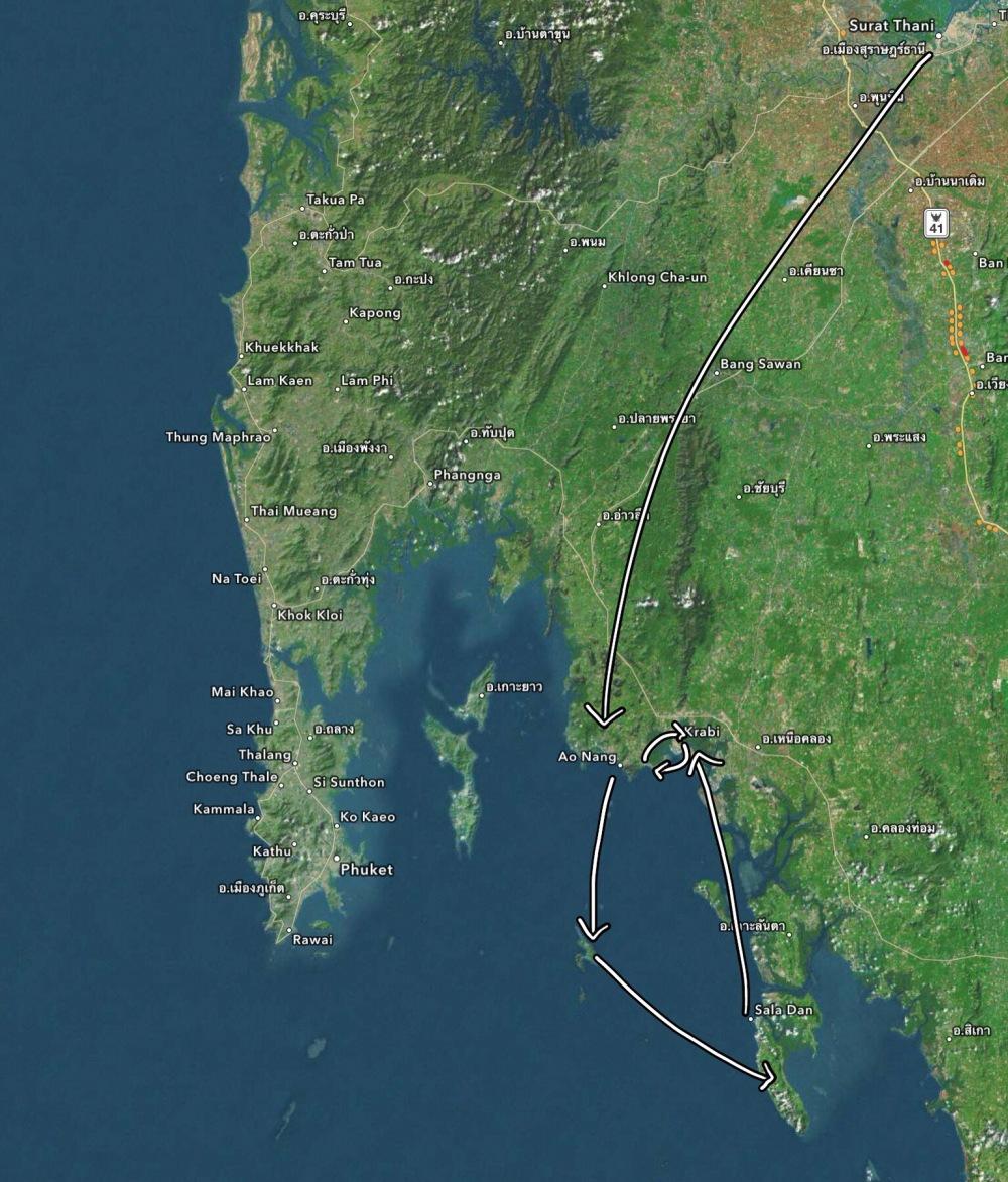 itinerary thailand trip map