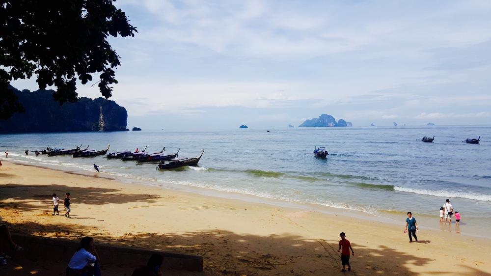 ao nang longtail boats sea ocean beach